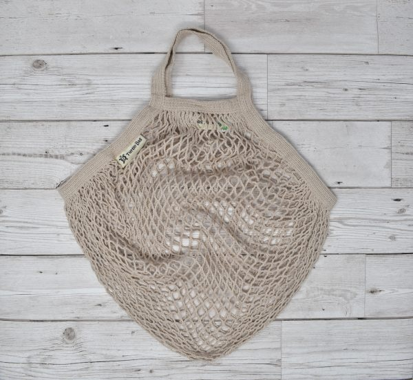 Turtle Bags Grey Short Handle Organic Cotton String Bag