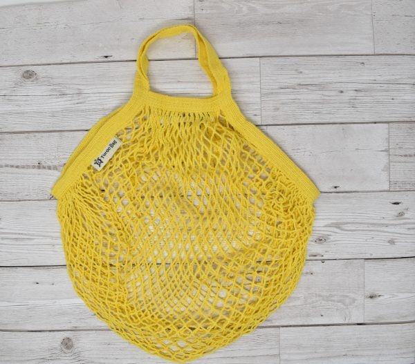 Turtle Bags Yellow Short Handle Organic Cotton String Bag