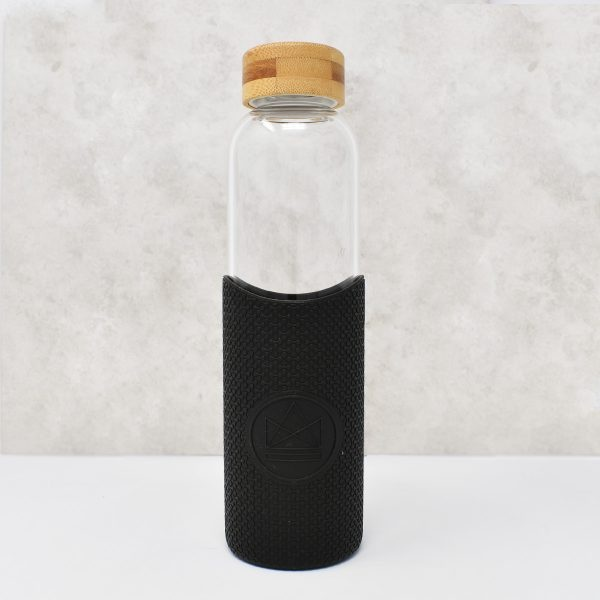 Neon Kactus Glass Water Bottle Feel the Beat Black