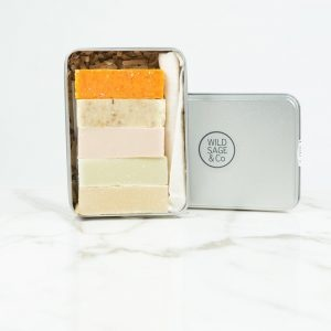Wild Sage & Co natural soap, 5 Small Soap Bars with travel tin
