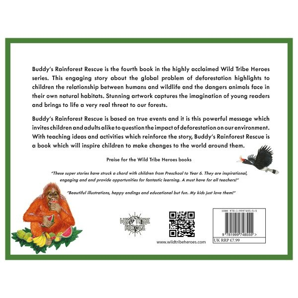 Wild Tribe Heroes Buddy's Rainforest Rescue Sustainable Children's Book Back Cover