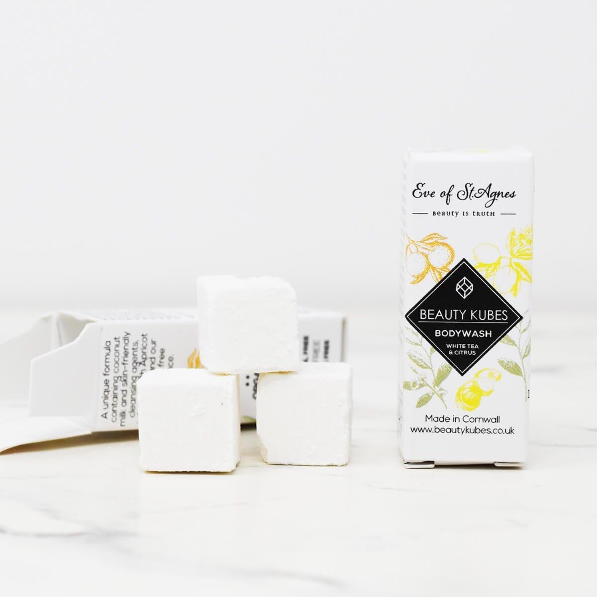 Beauty Kubes, Body Wash, White Tea & Citrus, bodywash cubes, bath, shower, soap bar, vegan-friendly, plastic-free, beauty kubes mini, travel soap bar,