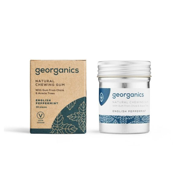 Georganics English Peppermint Chewing Gum Tin and Box