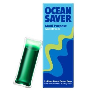 ocean saver, Cleaning Drop, multi purpose , apple breeze , biodegradable, plant-based, eco-friendly, cleaner refills, household cleaning, water soluble sachets,