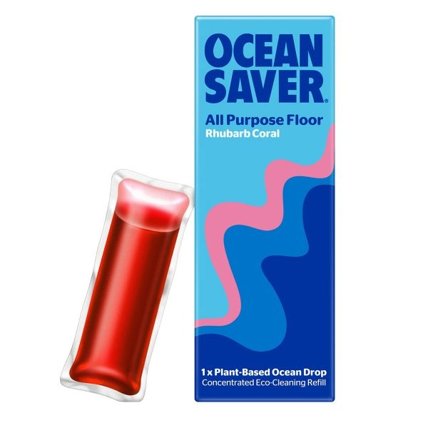 ocean saver, Cleaning Drop, floor cleaner, rhubarb coal , biodegradable, plant-based, eco-friendly, cleaner refills, household cleaning, water soluble sachets,