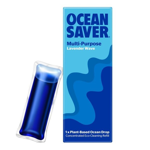 ocean saver, Cleaning Drop, multi purpose, lavender wave , biodegradable, plant-based, eco-friendly, cleaner refills, household cleaning, water soluble sachets,