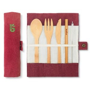 Bambaw Bamboo Cutlery Set In A Berry Coloured Cotton Roll Up Pouch
