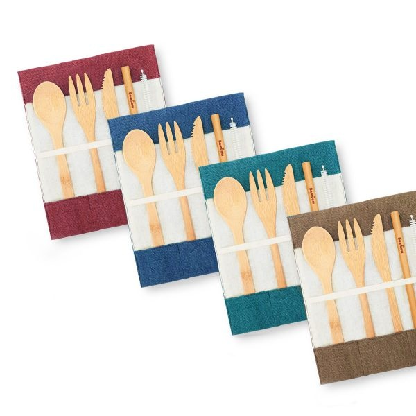 Collection of Bambaw Bamboo Cutlery Sets In Different Colours