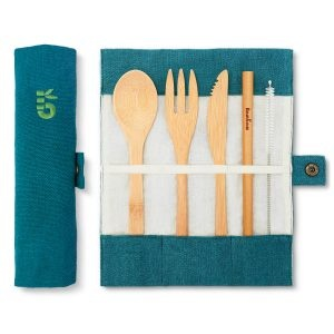 Bambaw Bamboo Cutlery Set In A Lagoon Coloured Cotton Roll Up Pouch