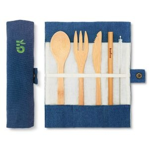 Bambaw Bamboo Cutlery Set In A Ocean Coloured Cotton Roll Up Pouch