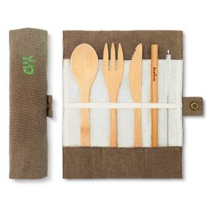 Bambaw Bamboo Cutlery Set In A Olive Coloured Cotton Roll Up Pouch