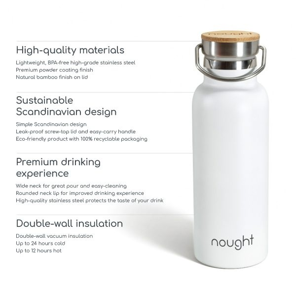 Nought Stainless Steel with Bamboo Lid Water Bottle Information