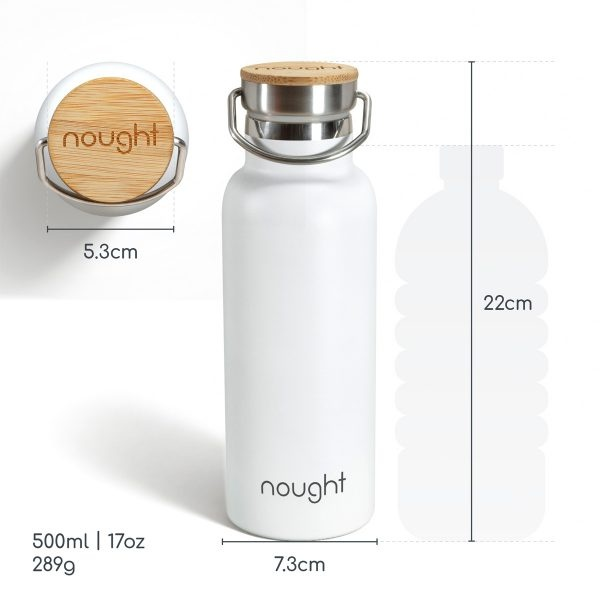 Nought Stainless Steel with Bamboo Lid Water Bottle Measurements