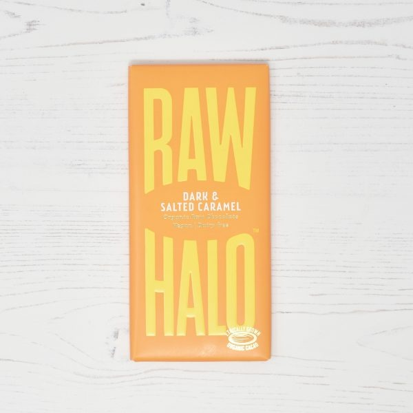 Raw Halo Vegan Organic Raw Dark Chocolate & Salted Caramel 70g bar