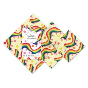 BeeBee Beeswax Wraps Mixed Size Pack – Rainbow