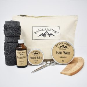 Rugged Nature Luxury Natural Hair & Beard Kit with cotton canvas wash bag, cotton grey face cloth, beard oil, beard balm, hair wax, large comb and beard trimming scissors