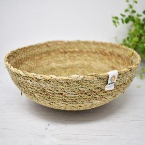 ReSpiin Shallow Natural Seagrass Storage Basket – Large