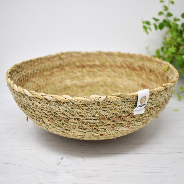 ReSpiin Shallow Natural Seagrass Storage Basket – Large