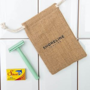 Shoreline Shaving Mint Green Safety Razor in Hessian Bag