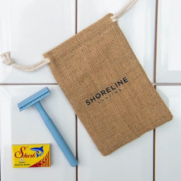 Shoreline Shaving Pale Blue Safety Razor in Hessian Bag