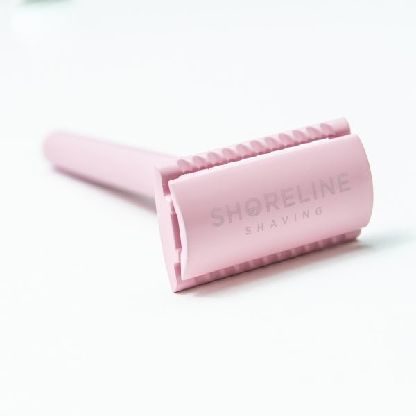 Shoreline Shaving Pastel Pink Safety Razor in Hessian Bag