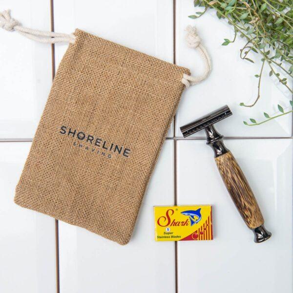 Shoreline Shaving Storm Grey Bamboo Razor with Hessian Travel Bag