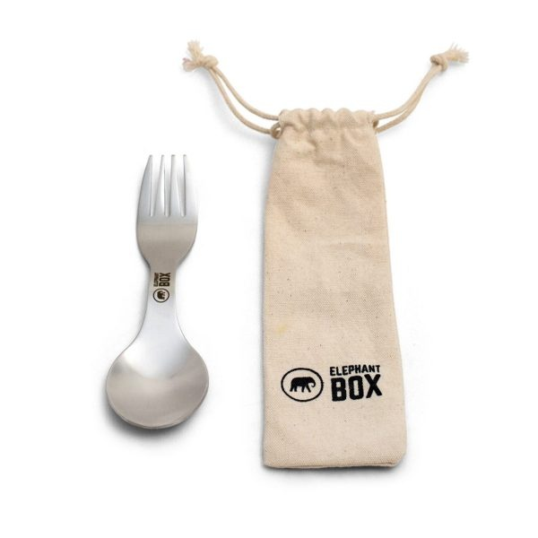 Elephant Box Stainless Steel Spork with Cotton Bag