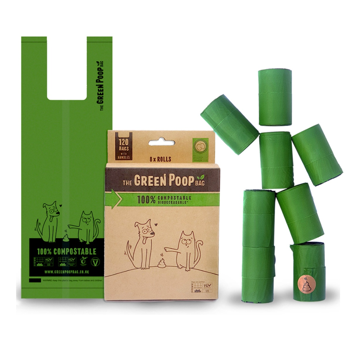 100% Compostable Dog Poop Bags - 120 bags - Peace With The Wild